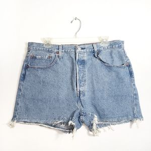 Levi's 501 High Rise Frayed Denim Shorts
